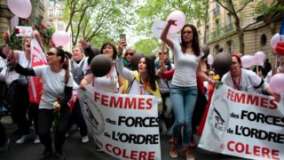 Paris Champs Elysees attack: 'Angry Police Wives' protest against violence
